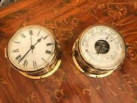 Vintage Danish Devina Ship Brass Maritime Marine Clock and Barometer