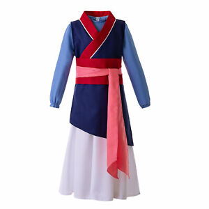 Girl Hua Mulan Princess Fancy Dress Movie Cosplay Costume Halloween Party Outfit