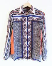 Zara Basic XS Scarf Baroque Print Light Chiffon Long Slv Collared Blouse Shirt