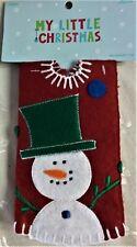 "Nwt My Little Christmas 12"" Mini Felt Tree Skirt, Snowman on Red Background"