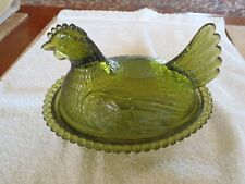 Antique Original Vintage Depression Carnival Glass Turkey Rooster Hen Dish Bowl