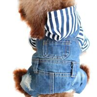 Pet Dog Clothes Spring Autumn Stripe Jeans Overalls Puppy Denim Jumpsuit Apparel