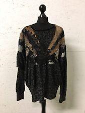 Ann Balon Diseñador Jersey de encaje floral negro ala del murciélago Talla M L 14 16 18 Suéter
