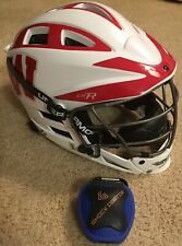 Cascade CS-R White Red Youth Lacrosse Helmet W/ Black UA Chin Strap Silver Cage!