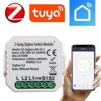 TUYA ZigBee Drahtlose 2-Stromkreis- Licht Schalter Modul *Funktioniert ohne N