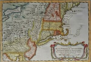 USA, New England, New York, New Jersey, Pennsilvania…map by Bellin, 1757