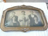 Large Antique Wooden Bubble Glass VERY ORNATE Frame w/ Picture Of 6 Ladies