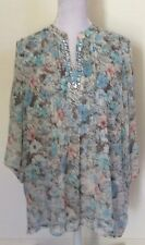 Womens IQ Smart Clothes Plus Size 18 Blouse Top Shirt Floral Sheer Polyester