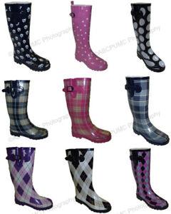New Women's Colors Flat Festival Mid Calf Rubber Snow & Rain Boots Styles, Sizes