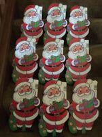 Vintage Lot 9 Christmas Large Die Cut Paper / Cardboard Decorations NOS Santa