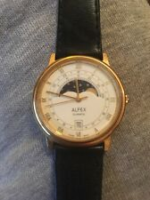 Men's Rare Alfex Moonphase Watch With Date Feature Swiss Made