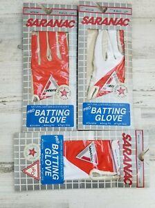 Lot of 3 Vintage Saranac Pro Mens Med. LH B-1631 NOS Orange/White Batting Glove.