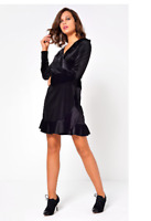 John Zack Wrap Over  Frill Dress  Black   Size 8