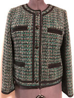 J Crew Fanfare Jacket Green Black Tweed Long Sleeve Wool Blend Blazer Sz 12 GUC