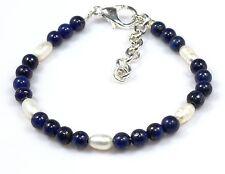 "Lapis Lazuli Pearl Baby Bracelet 4 MM 5.25""+1"" Children's Armband Birthday Gift"