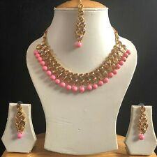 PINK GOLD KUNDAN INDIAN COSTUME JEWELLERY NECKLACE EARRINGS CRYSTAL SET NEW 901