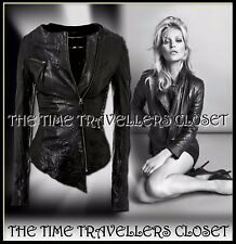 KATE MOSS TOPSHOP BLACK ICONIC CRINKLE ASYMMETRIC LEATHER BIKER JACKET UK 10 32