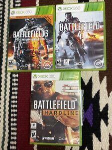 Battlefield 3 , 4 & Hardline Xbox 360 Game Complete & Tested Premium Edition