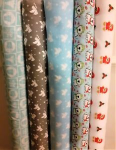 Christmas printed poly cotton fabric material per Metre