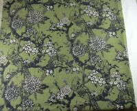 Birds & Branches Floral Olive Green Brown 1yd Fabric Vintage Barkcloth