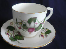 ELIZABETHAN BONE CHINA FUSCHIA FLOWER IN PINK AND WHITE TEA CUP AND SAUCER