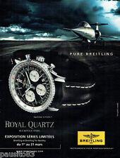 PUBLICITE ADVERTISING 125  2011  BREITLING  la montre NAVITIMER royal quartz