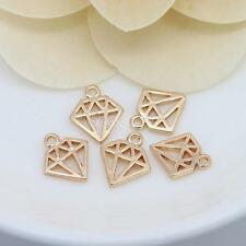 Fashion Real Yellow Gold Plated Jewelry Pendant no Necklace Chain Diamond Shape