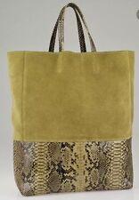 Nwt CELINE $2,300 Olive Suede & Python BI-CABAS Tote Bag