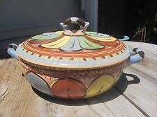 Massive Vintage 30s Tlaquepaque Covered Mexican Hand Painted Pottery Casserole