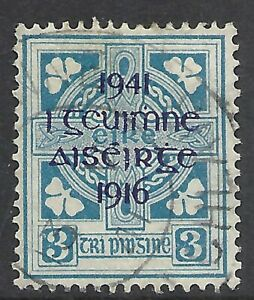 IRELAND SCOTT 119 USED F/VF - 1941 3p BLUE  WITH VIOLET OVPT. ISSUE   CAT $40