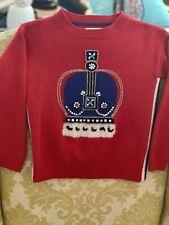 Mini Boden BFG Roald Dahl Girls Red Crown Wool Sweater Size 6/7 Yrs