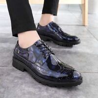 Mens Patent Leather Shoes Business Dress Formal Brogue Wedding Suit Oxfords New