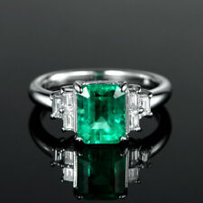 1.81TCW Natural Green Emerald Baguette Diamond Engagement Ring 14K White Gold