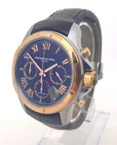Raymond weil Parsifal Black Leather Strap Automatic Mens Watch