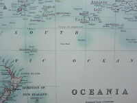 1910 MAP ~ OCEANIA POSSESSIONS ~ AUSTRALIA NEW GUINEA POLYNESIA MALAY