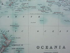 1910 MAP ~ OCEANIA POSSEDIMENTI ~ AUSTRALIA POLINESIA NUOVA GUINEA malese