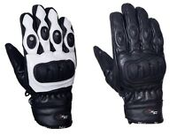 Short Leather Knuckle Protection Motorbike Motorcycle Gloves White or Black