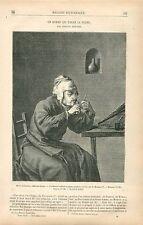 Un homme qui taille sa plume par Adriaen Brouwer peintre  GRAVURE OLD PRINT 1878