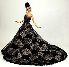 Eaki Black Gold Lace Evening Dress Outfit Silkstone Barbie Fashion Royalty Gown