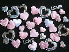 50 LOVE HEARTS FH02P PINK MIX for SCRAPBOOKING Baby Shower Card embellishments