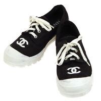 Authentic CHANEL CC Logos Bi-color Sneakers Shoes Black White Canvas #36 GS00480