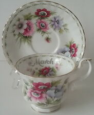 Royal Albert March Anemones Flower of the Month English Bone China Cup & Saucer