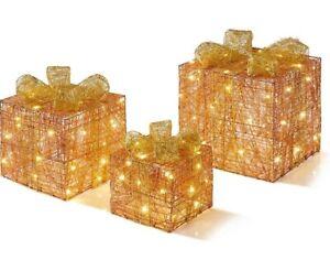 Set of 3 Light Up Parcels Warm Gold LED Rose Gold Christmas Boxes Decorative