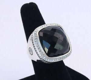 David Yurman Sterling Silver 20mm Albion Ring Black Onyx & Diamonds sz 8