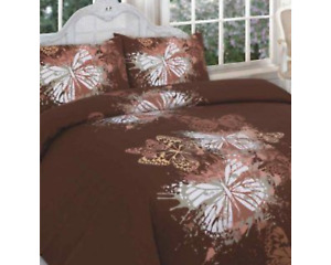 Polycotton Butterfly Chocolate Duvet Cover Set Double