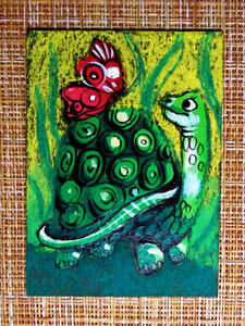 ACEO original pastel painting outsider folk art brut #010561 surreal turtle
