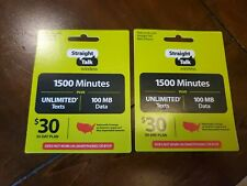 Straight Talk Wireless $30 Phone Card Basic Phones Only 2 Cards Worth $60
