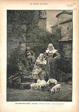 Tableau de Jules Girardet - Cochon Pig Porcelet Piglet Village Campagne 1883