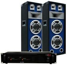 BLUE-LED PA PARTY ANLAGE DJ-700 Endstufe & SPL220 Boxen doppel Bass-Lautsprecher