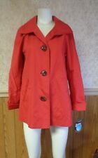 Women's Ellen Tracy Poplin Water Resistant 3 Button Coat in Azalea Size Small